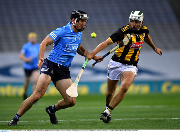 Mark Schutte battles Padraig Walsh of Kilkenny. Picture: Ray McManus/Sportsfile