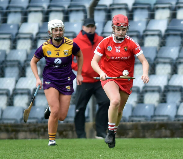 Cork's Fiona Keating breaks from Wexford's Katie O'Connor. Picture: Eddie O'Hare
