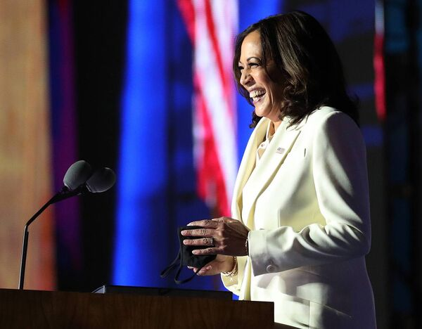 Vice President-elect Kamala Harris speaks on stage at the Chase Center. (Photo by Drew Angerer/Getty Images)