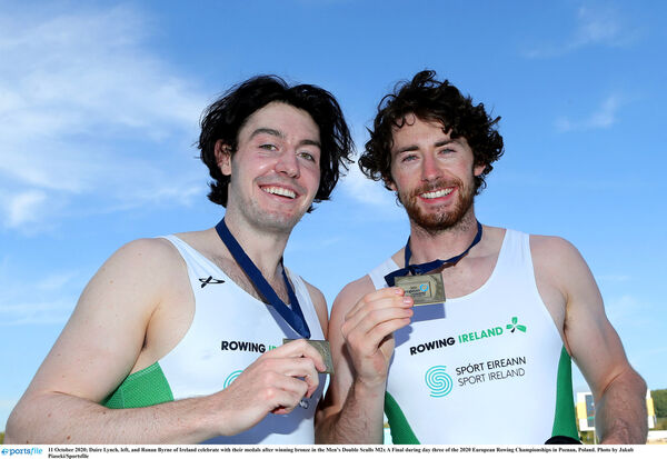 Daire Lynch and Ronan Byrne of Ireland celebrate with their medals in Poznan. Picture: Jakub Piaseki/Sportsfile