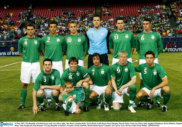 23 May 2007; The Republic of Ireland team, back row, left to right, Alex Bruce, Stephen Kelly, Kevin Doyle, Colin Doyle, Daryl Murphy, Darren Potter, front row, left to right, Stephen O'Halloran, Kevin Kilbane, Stephen Hunt, Andy Keogh and Alan Bennett. US Cup, Republic of Ireland v Ecuador, Giants Stadium, Meadowlands Sports Complex, New Jersey, USA. / Picture credit: David Maher / SPORTSFILE