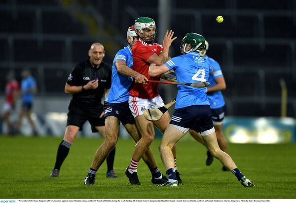 Shane Kingston battles James Madden and Paddy Smyth of Dublin. Picture: Daire Brennan/Sportsfile