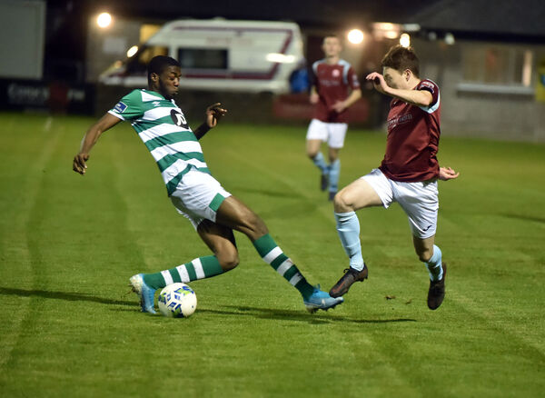 Cobh Ramblers' Stephen O'Leary takes the ball past Shamrock Rovers' Cole Omorehiomnan. Picture: Eddie O'Hare