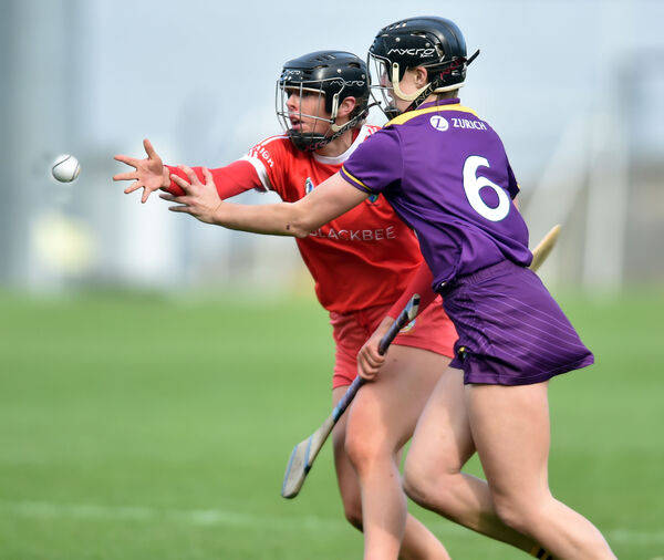 Laura Hayes and Wexford's Emma Walsh tussle for the ball. Picture: Eddie O'Hare