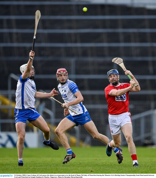 Conor Lehane with an overhead pass to set up a score for Shane Kingston against Waterford. Picture: Brendan Moran/Sportsfile