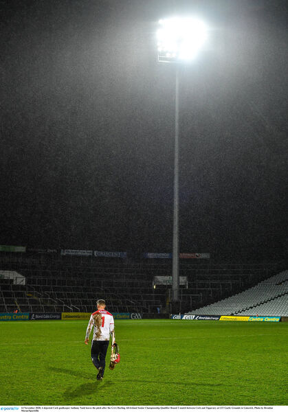 A dejected Cork goalkeeper Anthony Nash leaves the pitch after the GAA Hurling All-Ireland Senior Championship Qualifier Round 2 match between Cork and Tipperary at LIT Gaelic Grounds in Limerick. Photo by Brendan Moran/Sportsfile