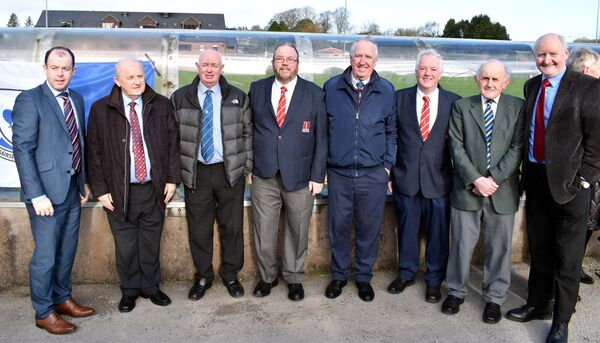 Marc Sheehan, the new chairman of the Cork County Board, with Pearse Murphy, Jim Murphy, Mick O'Brien,  Ray Rahilly, Donal O'Keeffe, Denis Kelleher and Pat Horgan at Sarsfield's. Picture: Mike English