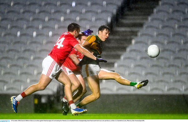 David Clifford shooting under pressure from Paul Kerrigan. Picture: Eóin Noonan/Sportsfile
