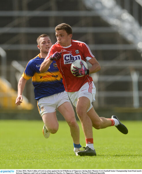 Mark Collins of Cork in action against Kevin O'Halloran of Tipperary. Picture: Piaras Ó Mídheach/Sportsfile