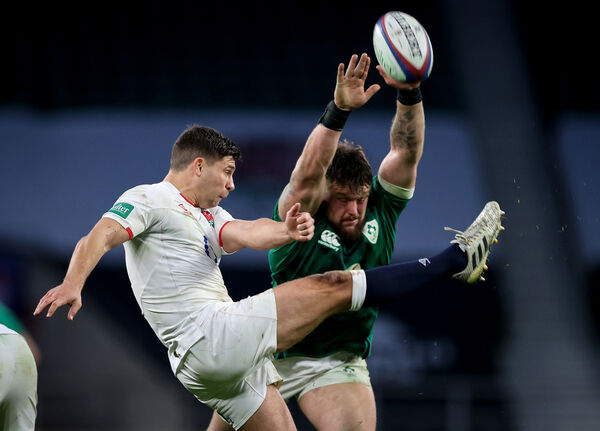 England's Ben Youngs kicks the ball clear. Picture: INPHO/Billy Stickland
