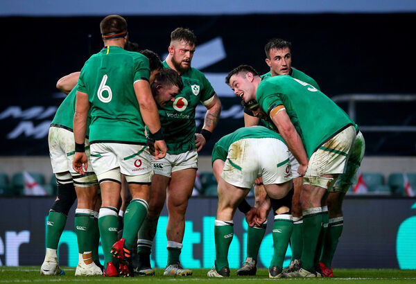 Ireland captain James Ryan with the pack. Picture: INPHO/Craig Mercer