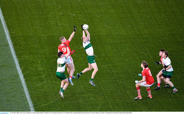 Liam Casey catches a kick-out. Picture: Daire Brennan/Sportsfile