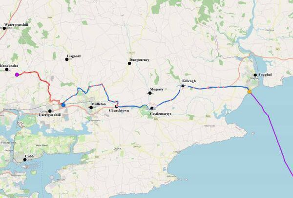 Route chosen for Celtic Interconnector. Pic: EirGrid