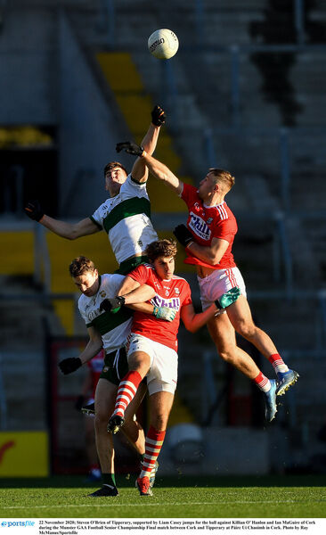 Steven O'Brien of Tipperary, supported by Liam Casey jumps for the ball against Killian O' Hanlon and Ian Maguire. Picture: Ray McManus/Sportsfile