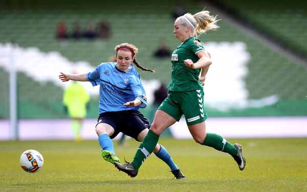Cork City's Natalie O'Brien and Dearbhaile Beirne of UCD in the 2017 FAI Cup final. Picture: INPHO/Ryan Byrne