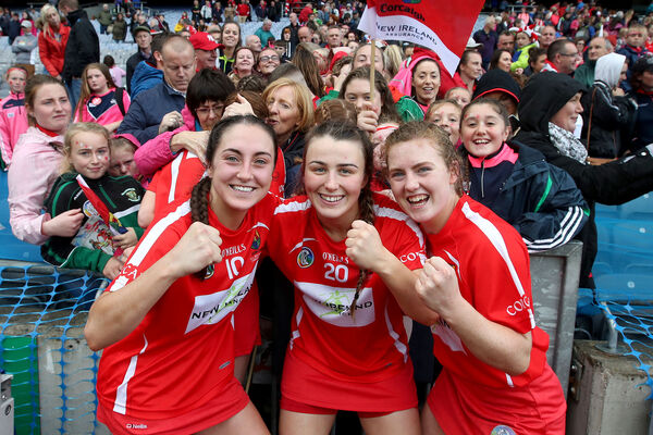 Cork's Amy O'Connor, Lauren Homan and Libby Coppinger celebrate winning