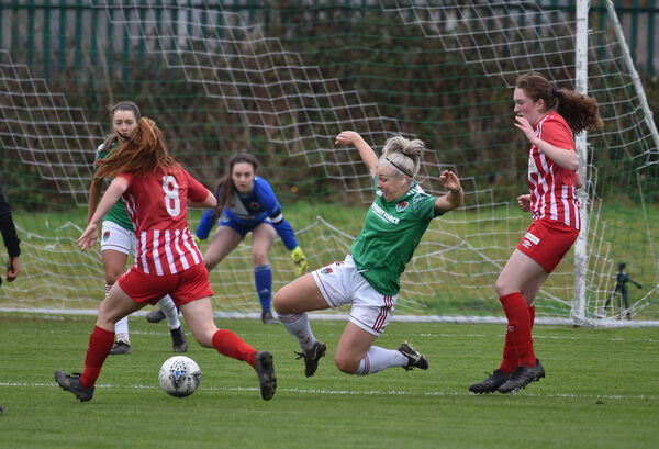 Nathalle O'Brien, Cork City flying in with a tackle on Maura Shine, Treaty midfield during their Women's FAI cup semi-final at Curraheen, Cork. Picture Dan Linehan