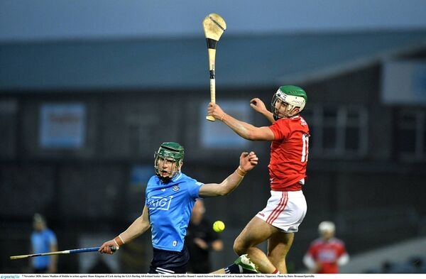 James Madden of Dublin in action against Shane Kingston of Cork. Picture: Daire Brennan/Sportsfile