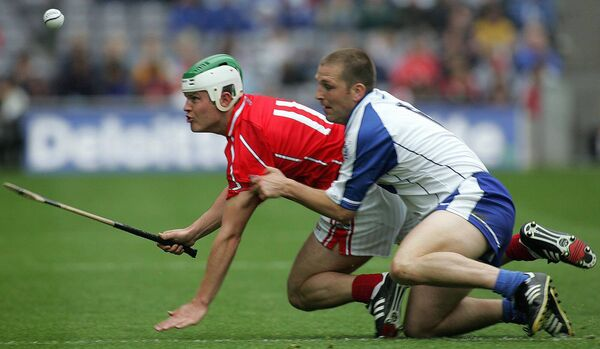 Cork forward Niall McCarthy tackled by Ken McGrath of Waterford in the 2005 All-Ireland hurling quarter-final at Croke Park. Picture: INPHO/Lorraine O'Sullivan