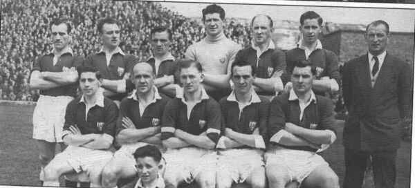 Cork Athletic in the FAI Cup final in 1956: Back: Paddy Noonan, Tim Daly, Tommy Collins, Pascal O'Toole, Davie Noonan, John Horgan, Paddy O'Leary. Front: Donie Wallace, Jimmy Delaney (c), Johnny Moloney, Jimmy Murphy, John Coughlan. Picture courtesy of Plunkett Carter