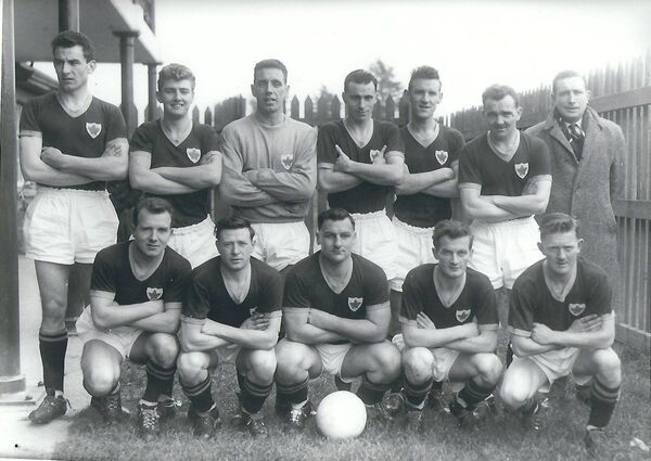 Cork Celtic in 1962. Back: Donie Leahy, Mick Millington, Kevin Blount, Donie O'Leary, Pat O'Mahony, Mick O'Keeffe, Liam O'Neill (manager). Front: Paul O'Donovan, Georgie Lynam, John Coughlan, Frankie McCarthy, Austin Noonan.