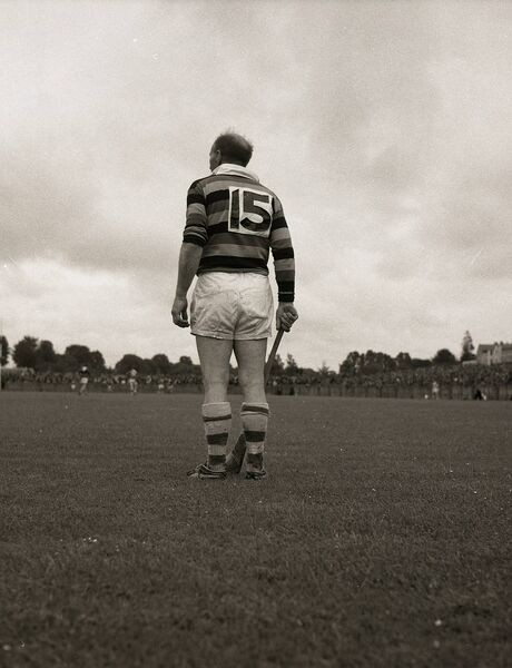 Christy Ring stands to attention for the national anthem before his last game for the Glen. Picture: Kevin Cummins