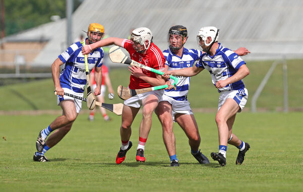 Shane Barrett, Blarney, breaking past Stephen Olden, Eddie O'Connor and Liam Buckley, Inniscarra, in the PIHC first round. Picture: Jim Coughlan.