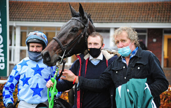 DARRENS HOPE and Paul Townend with groom Craig Flynn and trainer Robert Murphy after winning the Paddy's Rewards Club EBF Novice Hurdle (Listed).