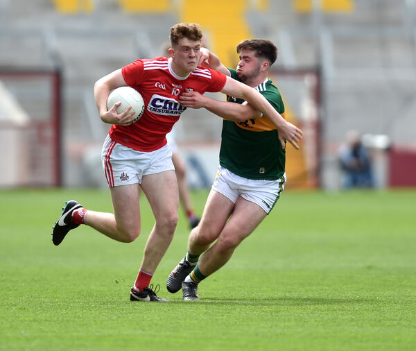 Cork's Hugh Murphy bursting past Kerry's Jack O'Connor in the minor championship last summer. Picture: Eddie O'Hare