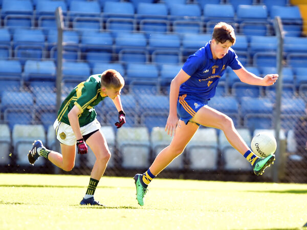 St Finbarr's Conor Hegarty goes past St Michaels Fionnan Leahy in the Rebel Óg U16 P1FC final at Páirc Uí Rinn. Picture: Eddie O'Hare