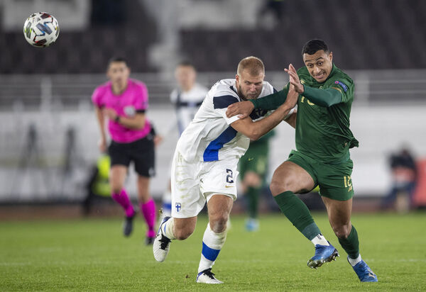 Ireland's Adam Idah battles with Paulus Arajuuri of Finland during their UEFA Nations League clash at  Helsinki Olympic Stadium, Finland. Idah was one of the many players to suffer from the numerous positive/negative Covid-19 tests.