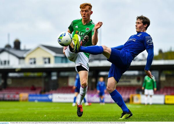 Alec Byrne of Cork City in action against Will Fitzgerald of Waterford. Picture: Eóin Noonan/Sportsfile