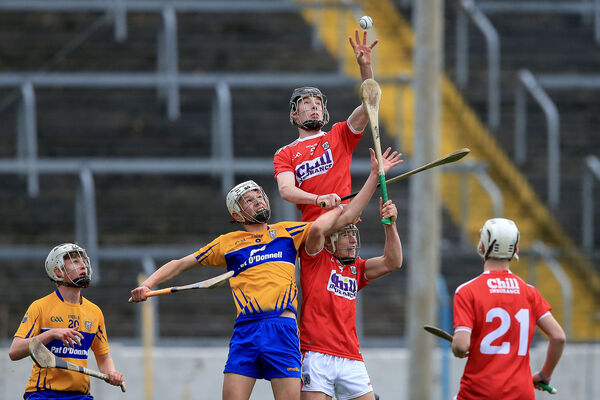 Cork's Eoin Downey wins a high ball. Picture: INPHO/Bryan Keane