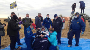 Trio who lived on space station for six months return to Earth safely