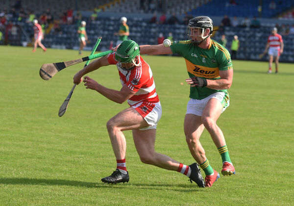 Fergus Lordan, Courcey Rovers and Colm Spillane, Castlelyons challenge for possession. Picture: Larry Cummins.
