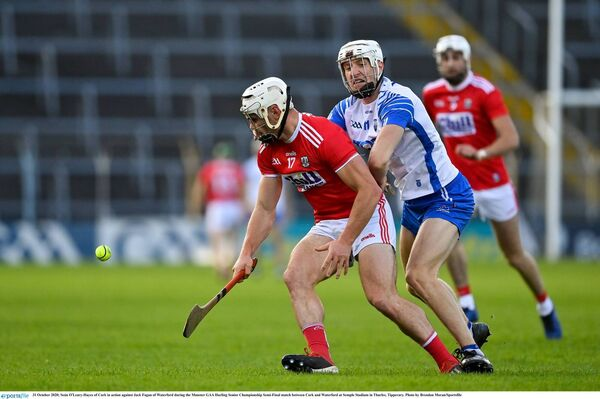 Seán O'Leary-Hayes of Cork battles Jack Fagan of Waterford in the Munster hurling semi-final. Picture: Brendan Moran/Sportsfile