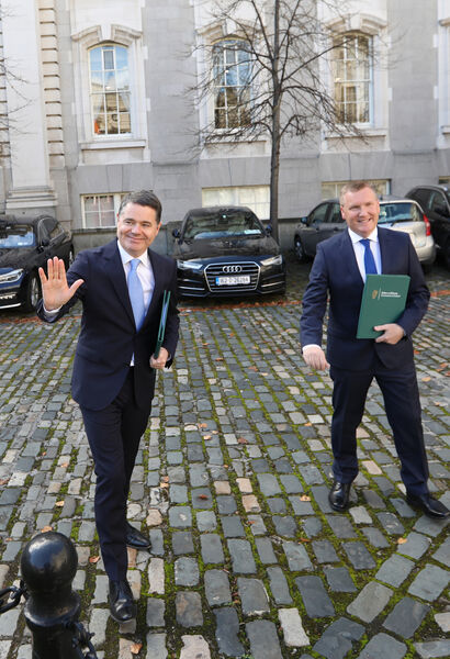 Fine Gael Minister for Finance, Paschal Donohoe TD and Fianna Fail Minister for Public Expenditure and Reform, Michael McGrath TD arriving at Government Buildings for the joint press conference for Budget 2021. Sasko Lazarov/RollingNews.