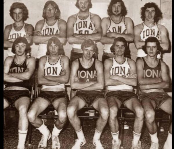 The Iona Senior Basketball team of 1976: Back row: Pat Hayes, Jackie Lynch, Greg Creagh, Donal Horgan, Walter McCarthy. Front: Jim Crowley, Jimmy Barry, Pat Quirke, Dommie Dalton, Denis Daly.