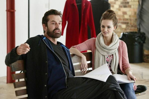 Kara Tointon rehearsing the role of Eliza Dolittle with Rupert Everett, in 2011