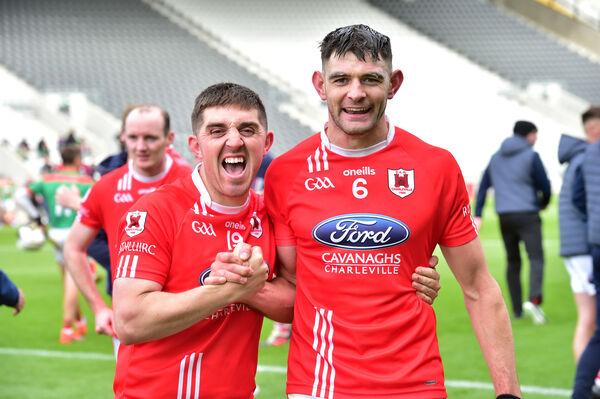 Mark Kavanagh and Jack Buckley celebrate. Picture: Dan Linehan