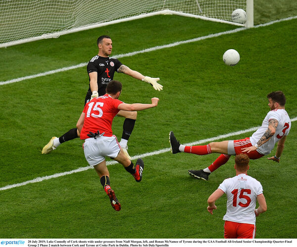 Luke Connolly going for goal against Tyrone last summer. Picture: Seb Daly/Sportsfile