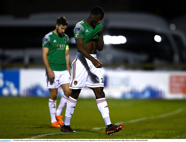 Joseph Olowu of Cork City after the loss at Sligo that saw the club relegated. Picture: Harry Murphy/Sportsfile