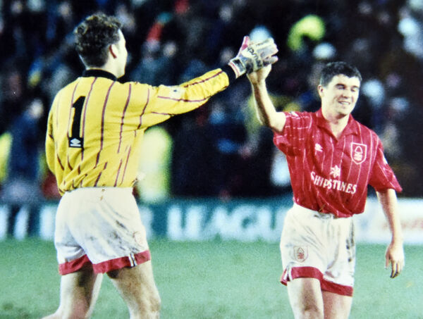 Roy Keane with Mark Crossley playing for Nottingham Forest against Spurs in a Coca Cola cup in December 1992. Picture: Eddie O'Hare