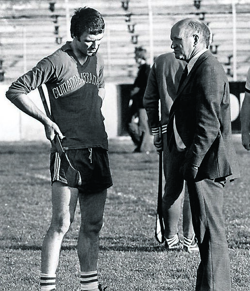 Jimmy Barry-Murphy, training at Pairc Uí Chaoimh in July 1978, in conversation with Christy Ring.