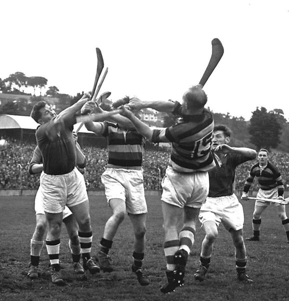 Glen Rovers' Christy Ring doubles on the ball in the 1956 SHC against St Finbarr's.