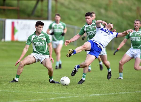 Cill na Martra's Danny Ó Conaill is fouled by Kanturk's Lorcan O'Neill during the Bon Secours Cork PIFC semi-final at Mallow. Picture: Eddie O'Hare