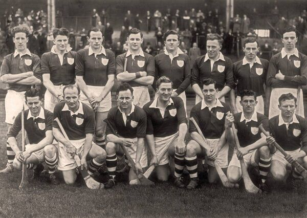 The 1954 Ireland hurling team. Back: J McGrath (Westmeath); T Leahy (Kilkenny); Bobby Rackard (Wexford); Liam Dowling (Cork); John Doyle (Tipperary); Pat Stakelum (Tipp); P. Kenny (Tipp); C. Murphy (Dublin). Front: Tim Flood (Wexford); Christy Ring (Cork); Willie Walsh (Kilkenny); Billy O'Neill (Galway); Tony Shaughnessy (Cork); Willie John Daly (Cork); Sean Duggan (Galway). Picture: Cummins Sports.