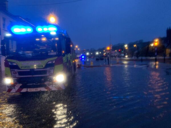 Centre of Bantry flooded this morning. Pic: Bantry Fire Brigade