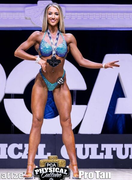 Eva Roche came first in the bikini category at the Physical Culture Association contest in the UK.