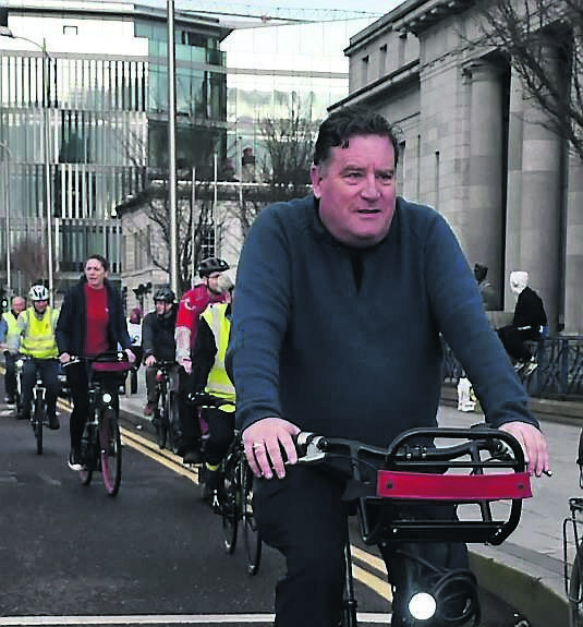 Dan Boyle taking part in a Cork Cycling Campaign demonstration outside City Hall as part of a campaign for better cycling facilities in the city.